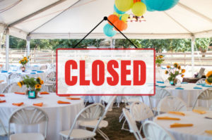 Party tent with closed sign